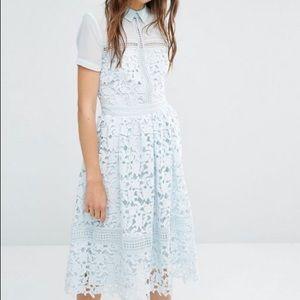 ASOS Blue Lace Collar Dress - Size 4